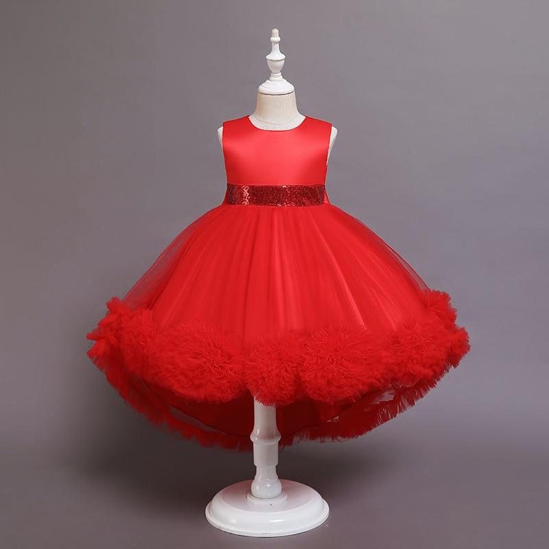 Children Little Tail Flower Girl Princess Dress Baby Girls Birthday Party Evening Dress Ceremony Elegant Girls Costume Ball Gown