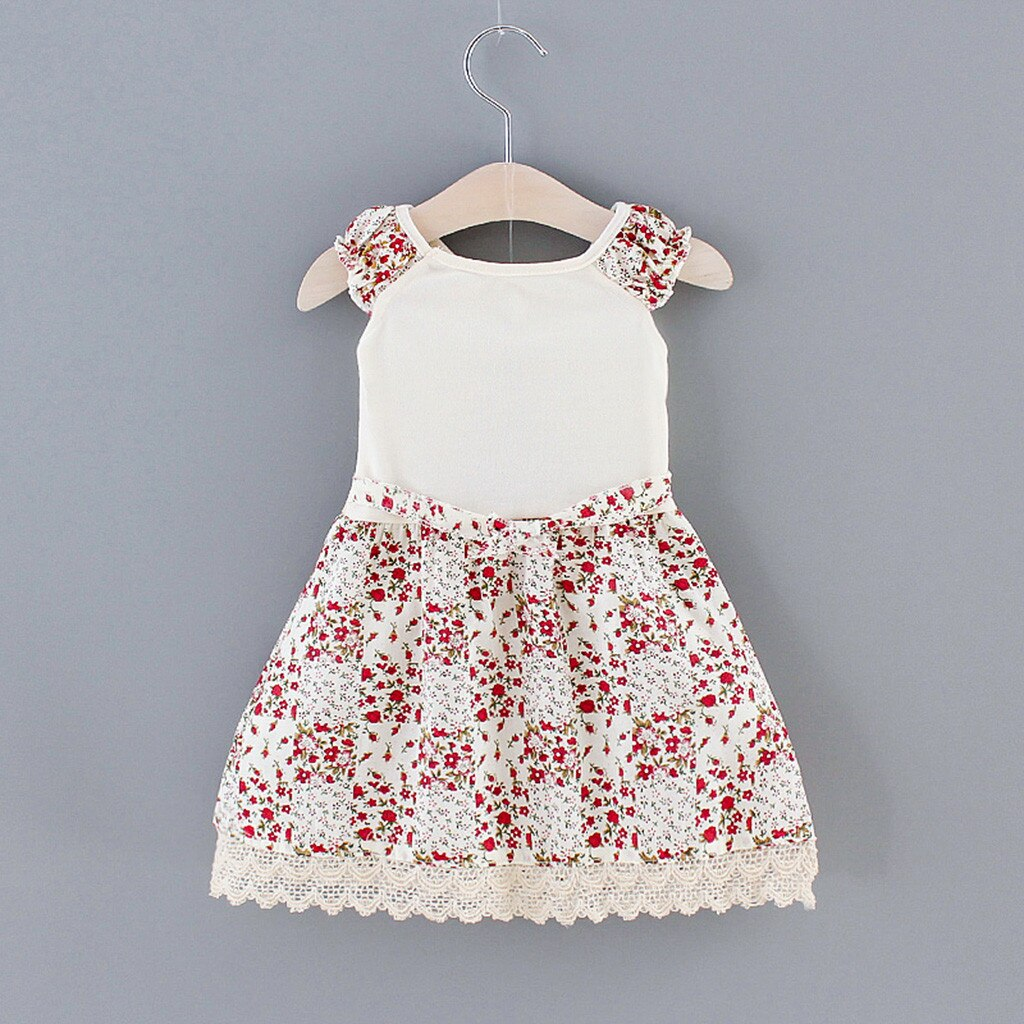 Girl's Dress Toddler Kids Baby Girls Flower Print Lace Ruffle Princess Dress Brooch Outfits Baby Girl Clothes Vestido Infantil