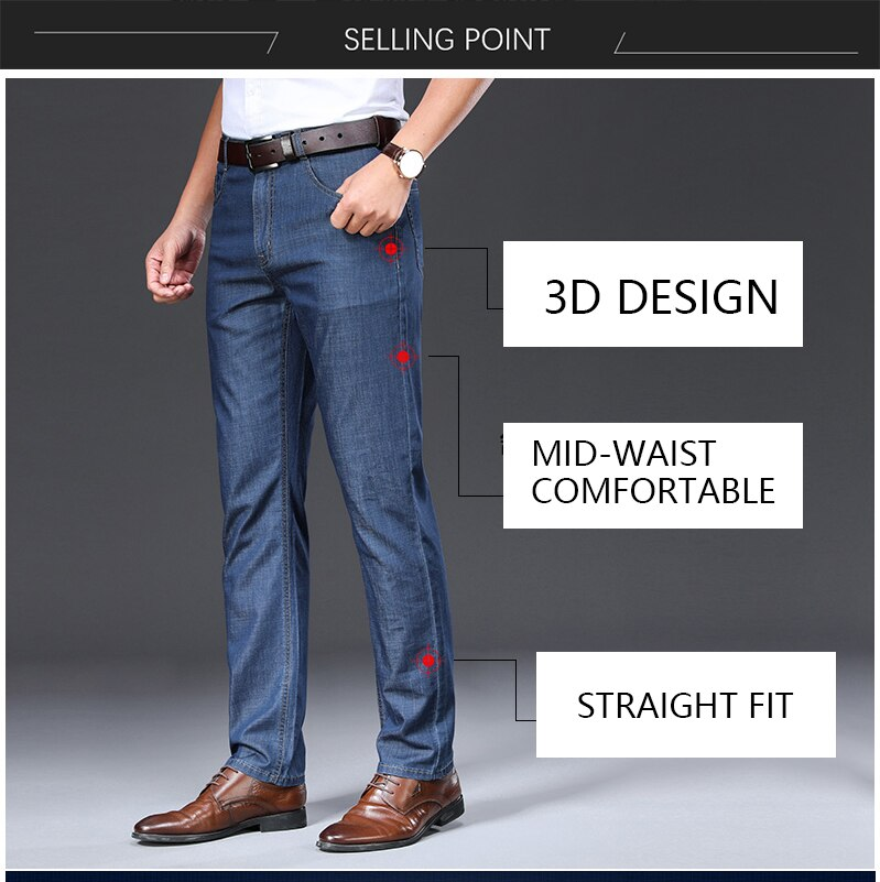 TFETTERS 2021 Summer Pants Men Jeans New Thin Soft Breathable Mid Straight Regular Black Jeans Trousers Work Vintage Men Jeans