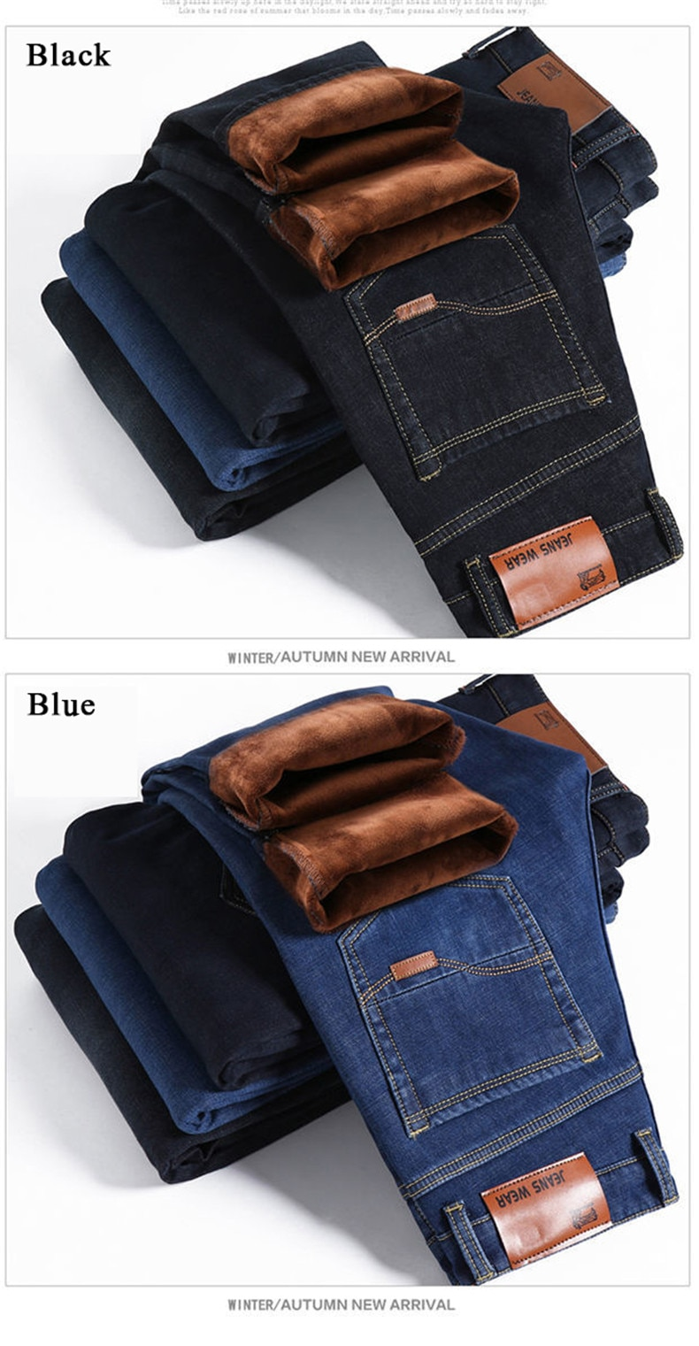 Men Brand 2020 New Winter Warm Jeans Flannel Stretch High Quality Jean Trousers Men Spring Casual Fashion Business Men's Pants
