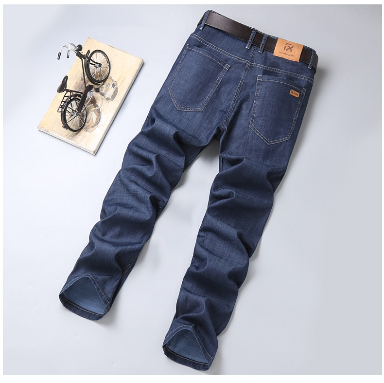 2020 Summer New Men's Thin Tencel Jeans Business Casual Elastic Comfort Straight Denim Pants Male High Quality Brand Trousers