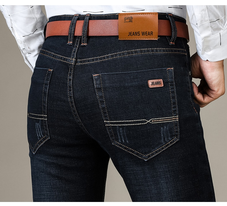 New Men's Brand Fashion Jeans Business Casual Stretch Slim Jeans 80s Classic Trousers high-grade Denim Pants dropshipping