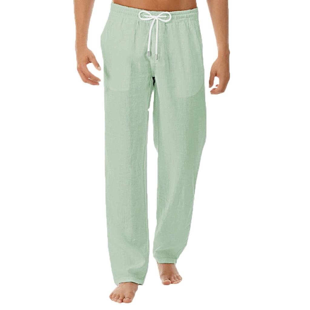 Men's Summer New Style Simple And Fashionable Pure Cotton And Linen Trousers Pants Men's Sweatpants pantalon homme 2021
