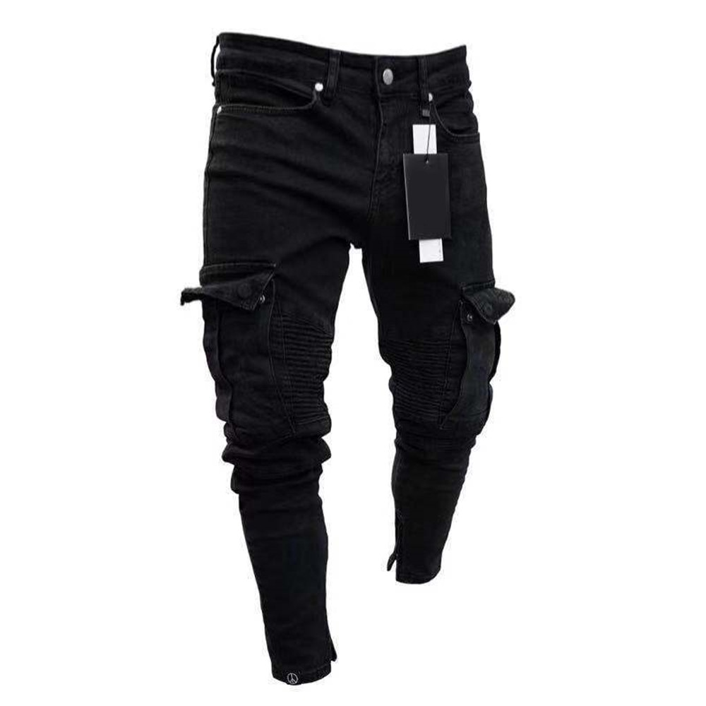 Men Skinny Jeans Frayed Destroyed Trousers Casual Denim Pants Slim Fit Mens Comfy Stretch Skinny Denim Jeans Pleated Cargo Pants