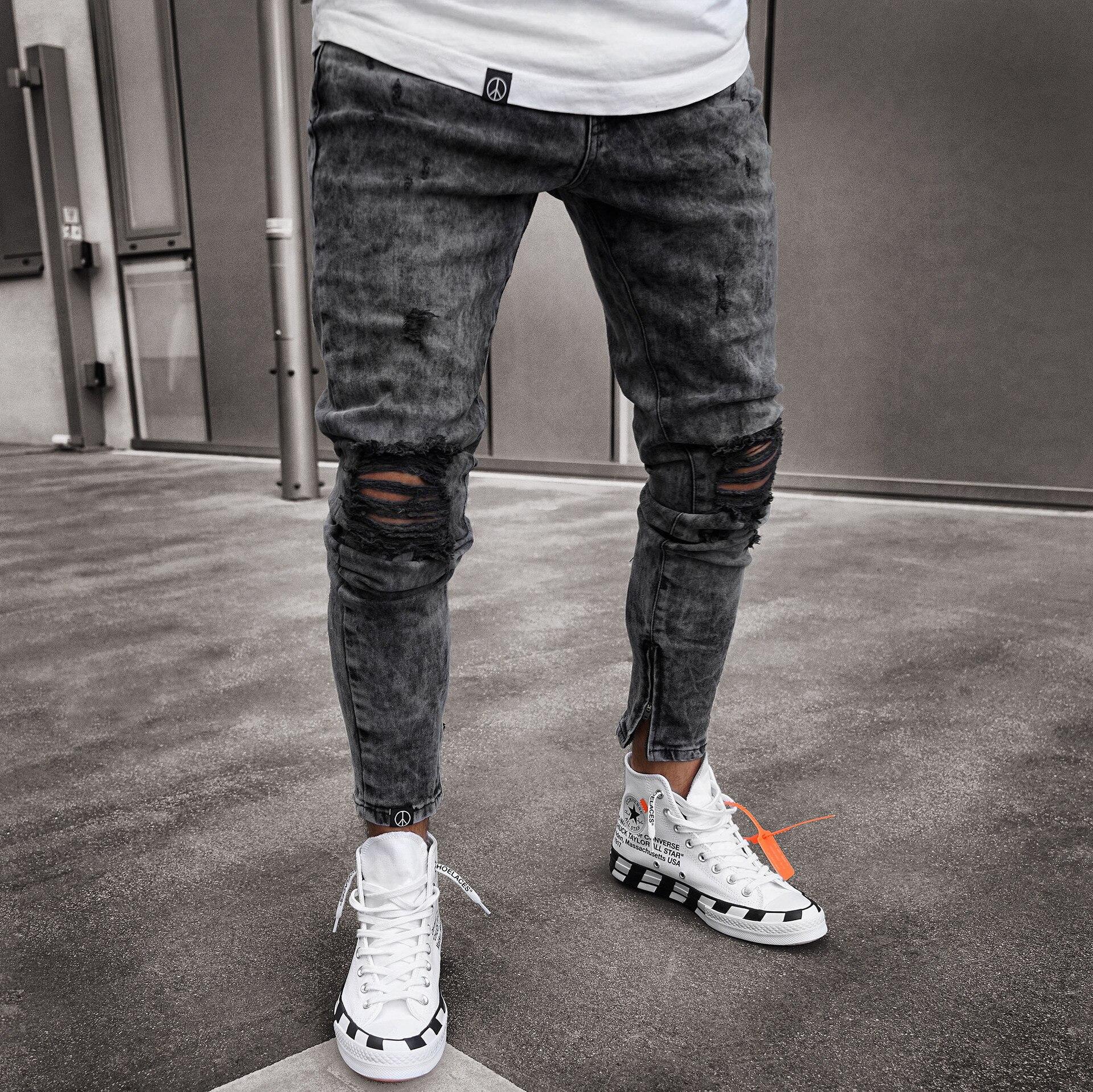 Hot Sale Newest Men's Skinny Jeans Snowflakes Casual Style Slim Denim Fabric Men Jeans with Zipper Leggings Men Slim Jeans Men