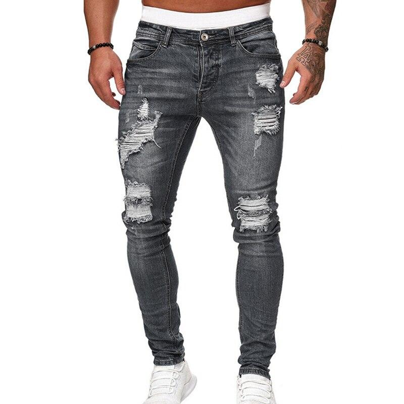 Men's Skinny Jeans Pencil Pants Motorcycle Party Casual Pants Streetwear Cowboy XRQ88