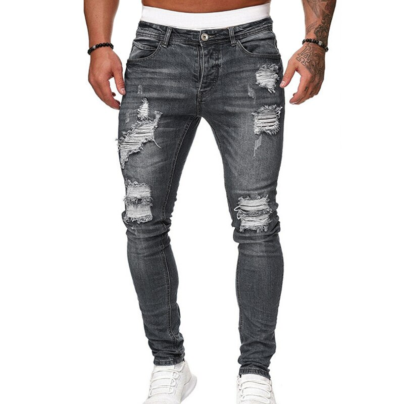 Men's Skinny Jeans Pencil Pants Motorcycle Party Casual Pants Streetwear Cowboy TT@88