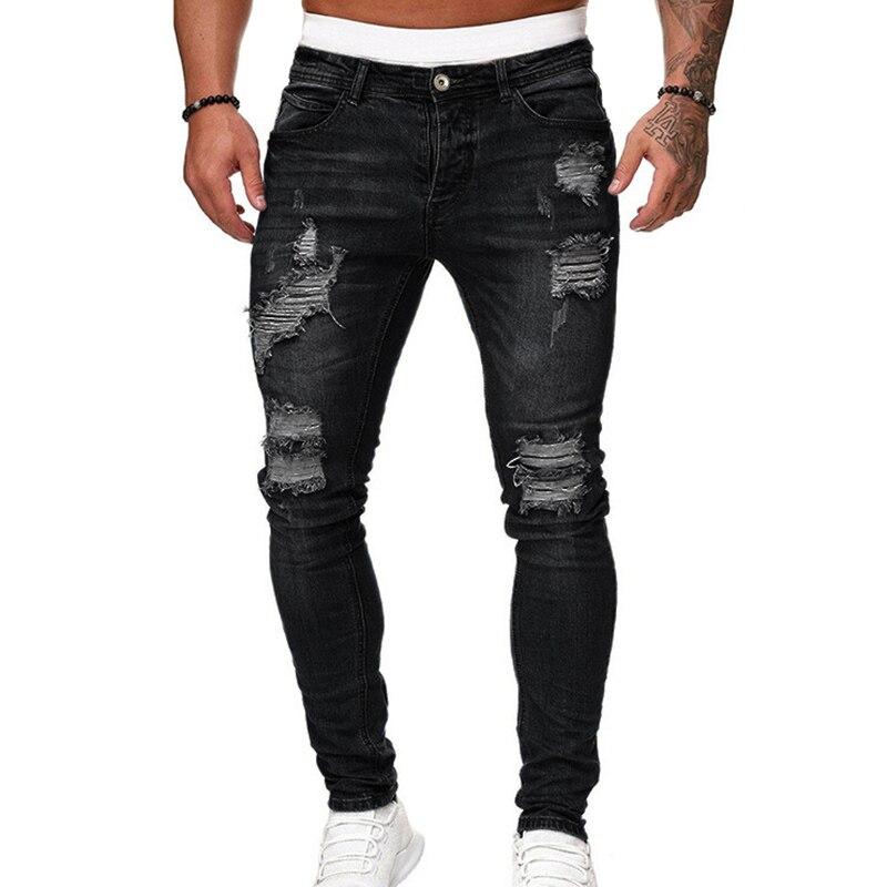 Men's Skinny Jeans Pencil Pants Motorcycle Party Casual Pants Streetwear Cowboy FS99