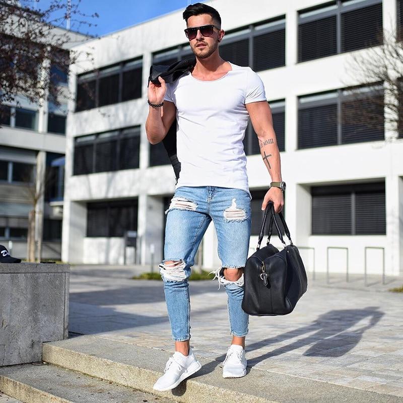 Men's Denim Pant Stretch Destroyed Ripped Design Fashion Ankle Pants Zipper Skinny Jeans For Men Plus Size Jeans