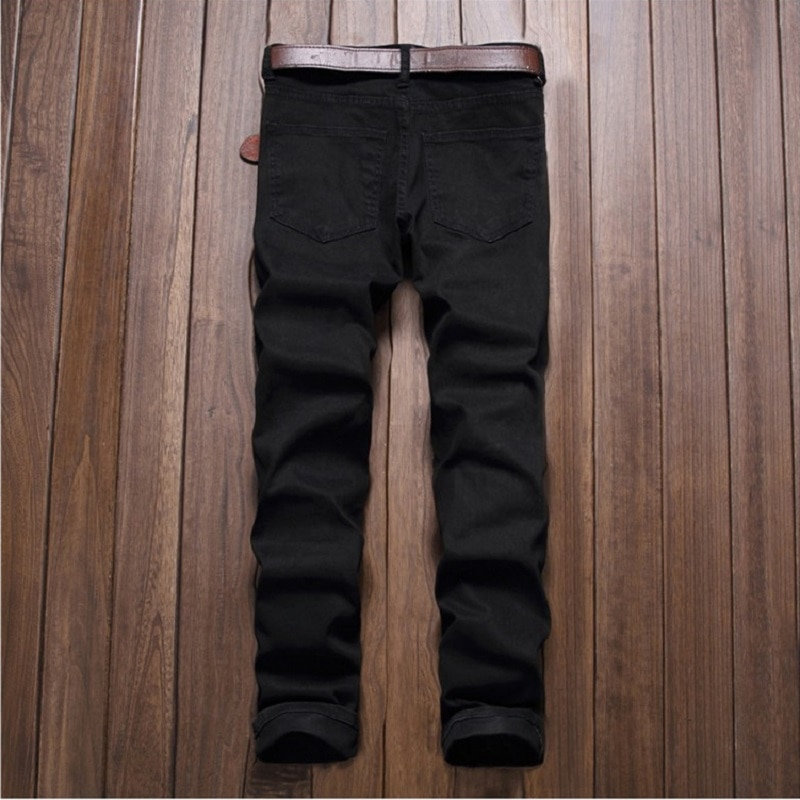 2020 Men's Pants Hole Cut Slacks Knee with Zipper Foot Stretch Trousers Ripped Jeans White Skinny Pencil Pants Joggers for Male