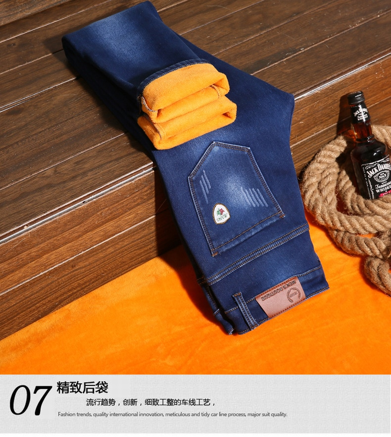 2020 Winter Jeans Men's Slim Fit Thick Velvet Pants Warm Men Young Skinny Cowboy Classic Casual Denim Fleece Trousers Male Blue