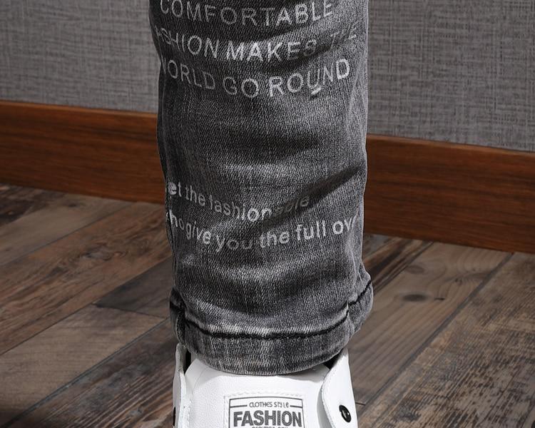 Autumn Black Gray Jeans Men's Slim-fit Stretch Tight Skinny Pants Korean Style Trendy Brand Washed Printed Men's Denim Jeans Men