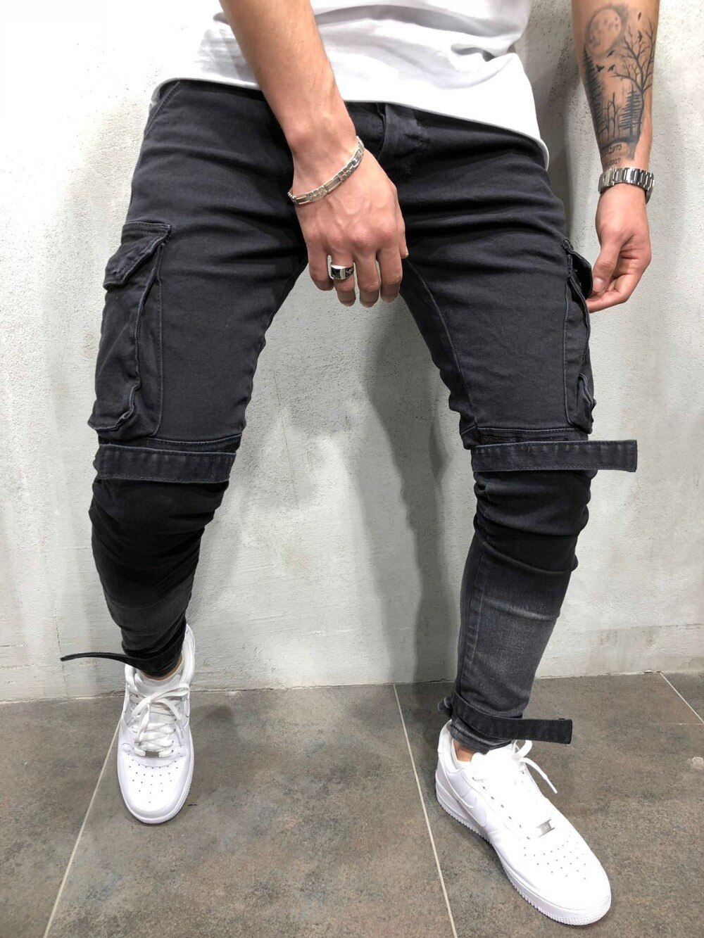Skinny Fit Destroyed Blue Elastic Trendy Street Style Jeans Men's Classical Distressed Hip Hop personality male denim trousers