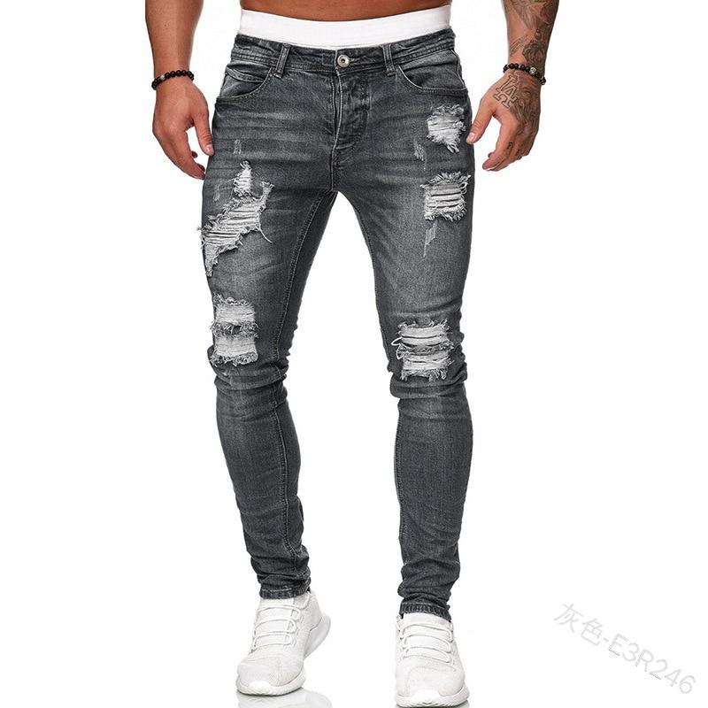 2020 Big Sale Men's Sweatpants Sexy Hole Jeans Pants Casual Summer Autumn Male Ripped Skinny Trousers Slim Biker Outwears Pants
