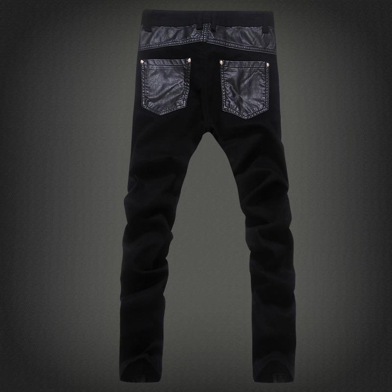 Zipper Splicing leather pants Long Pencil Pants  Jeans Slim Spring Hole Men's Fashion Thin Skinny Jeans Men Hiphop Trousers