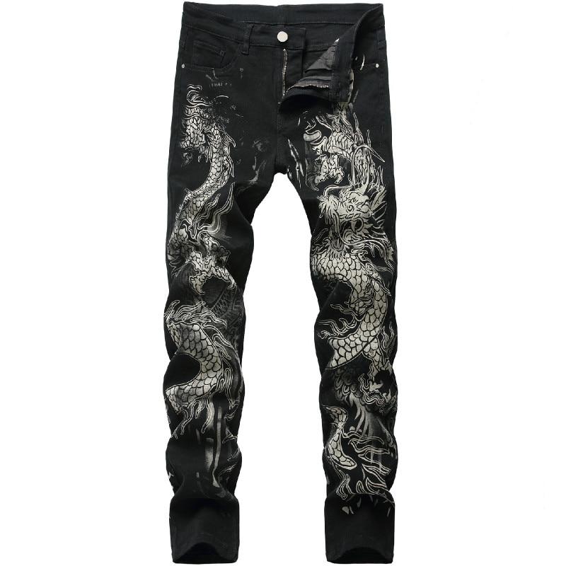 New men's Chinese trendy dragon black skinny jeans stretch comfortable fashion hip-hop men's pants Streetwear print trousers