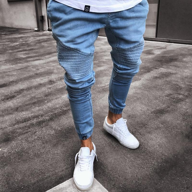 Men's Stretchy Ripped Skinny Biker Jeans Destroyed Slim Fit Denim Pants Mens Elastic Waist Harem Pants Men Jogger Clothes