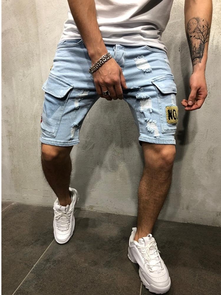 Men Stretchy Ripped Skinny Biker Embroidery Multi-Pocket Jeans shorts Destroyed Taped Slim Fit Denim shorts Men's Cargo Shorts