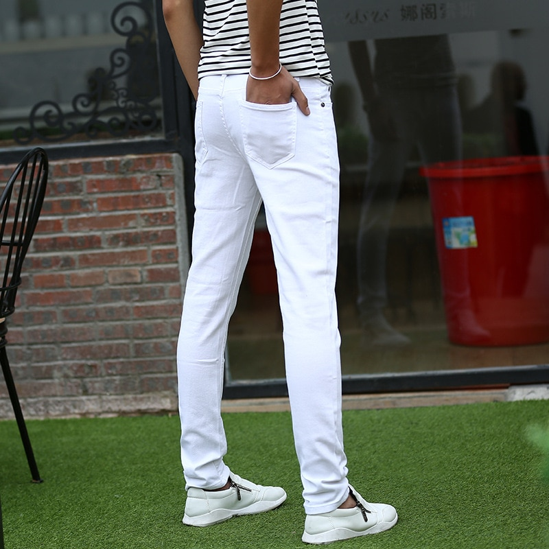 2020 New Arrival Style White jeans 100% cotton Men's Denim Jeans High Quality Fashion Casual jeans men Skinny Trousers