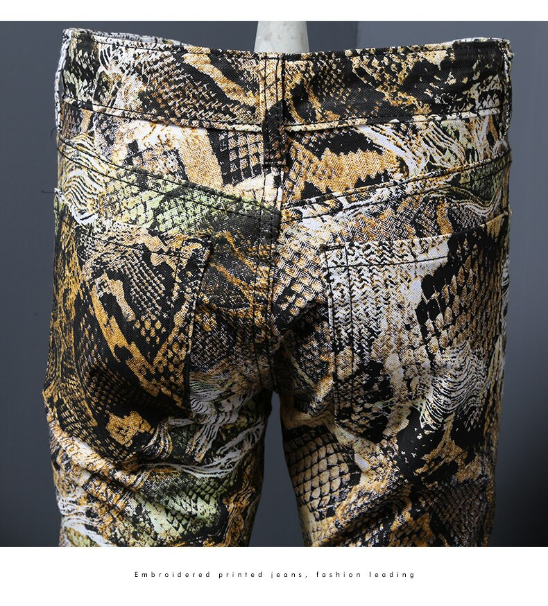 2020New Fashion Men's Serpentine Printed Jeans Male Coloured Drawing Trousers Flower Pants Mens Skinny Jeans Classic Snake Grain