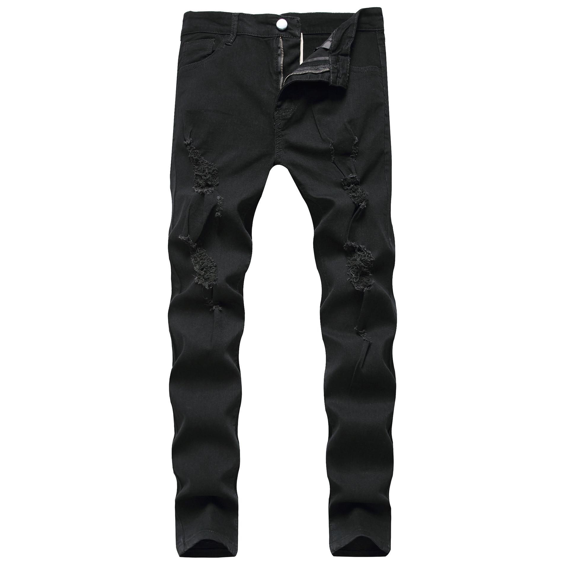 2020 Blue Black White Men's Sweatpants Sexy Hole Jeans Pants Casual Male Ripped Skinny Trousers Slim Biker Outwears Pants