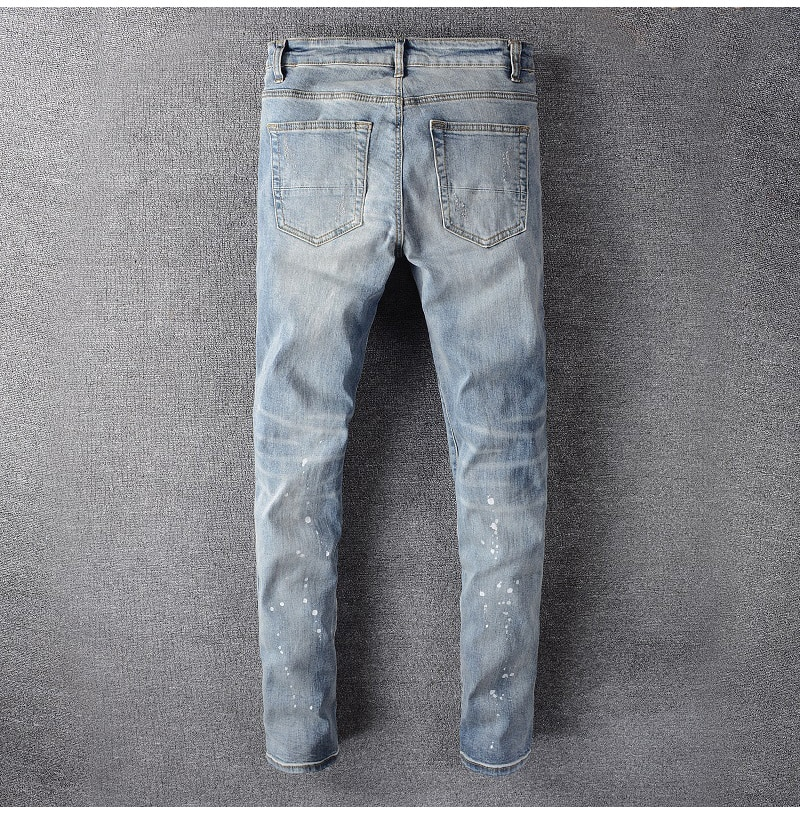 Sokotoo Men's streetwear crystal ink painted ripped jeans Fashion light blue holes skinny stretch denim pencil pants