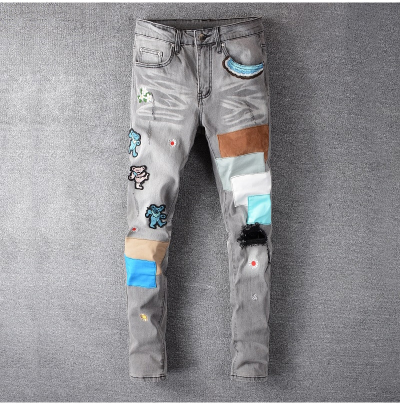 Men's bear embroidery patchwork gray jeans Streetwear embroidered slim skinny stretch denim pants