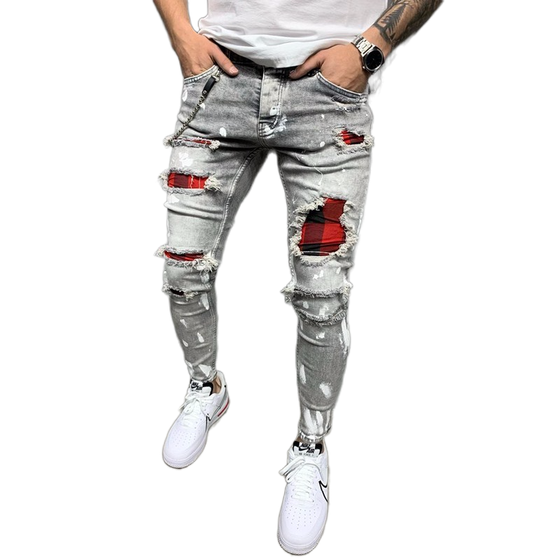 New Men's Quilted Embroidered jeans Skinny Jeans Ripped Grid Stretch Denim Pants MAN  Patchwork Jogging Denim Trousers S-3XL