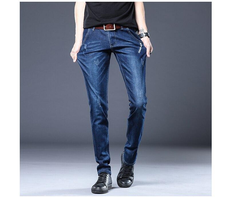 BROWON Brand Biker Jeans Men Streetwear Long Slim Denim Pant Skinny Mid Waist Slight Elastic Men Fashion 2021