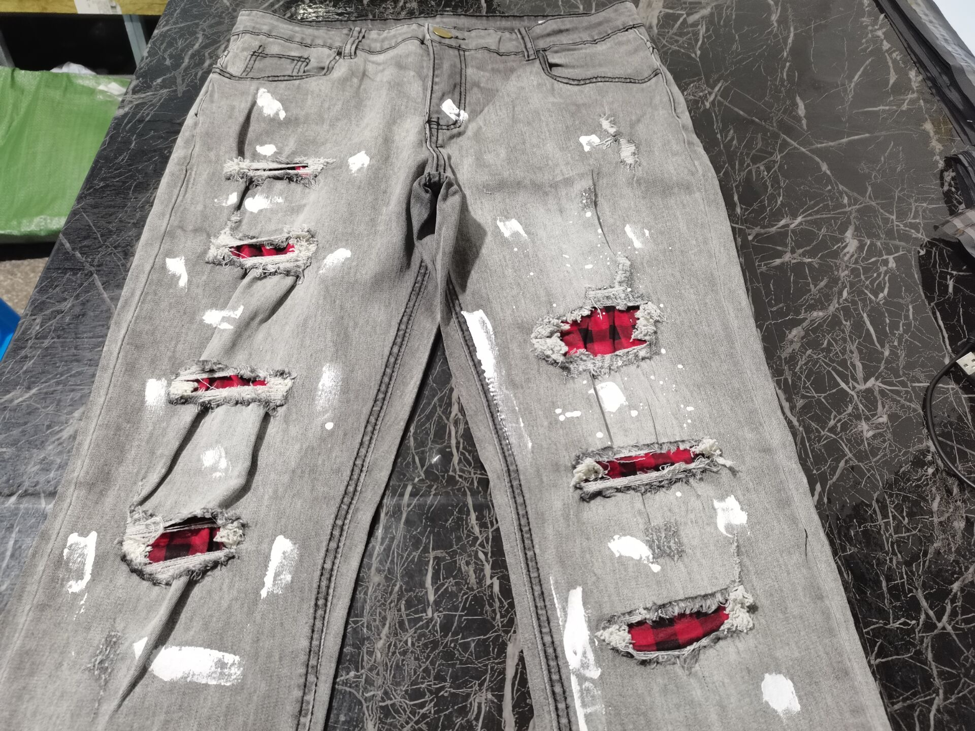 2021 Jeans Men Skinny Beggar Red Patchwork Denim Hole Wash Vintage Hip Hop Work Trousers Slim Printed Ropa hombre