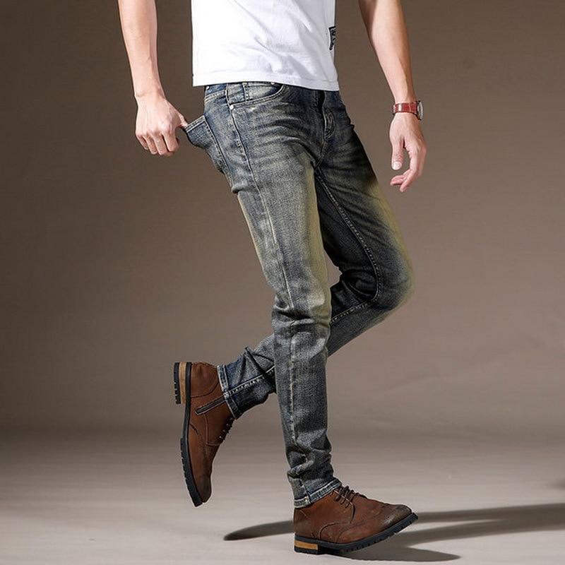 2021 Autumn Spring Vintage  Jeans Men'S Classic Skinny Slim Fit Fashion Restore Trouers High Quality