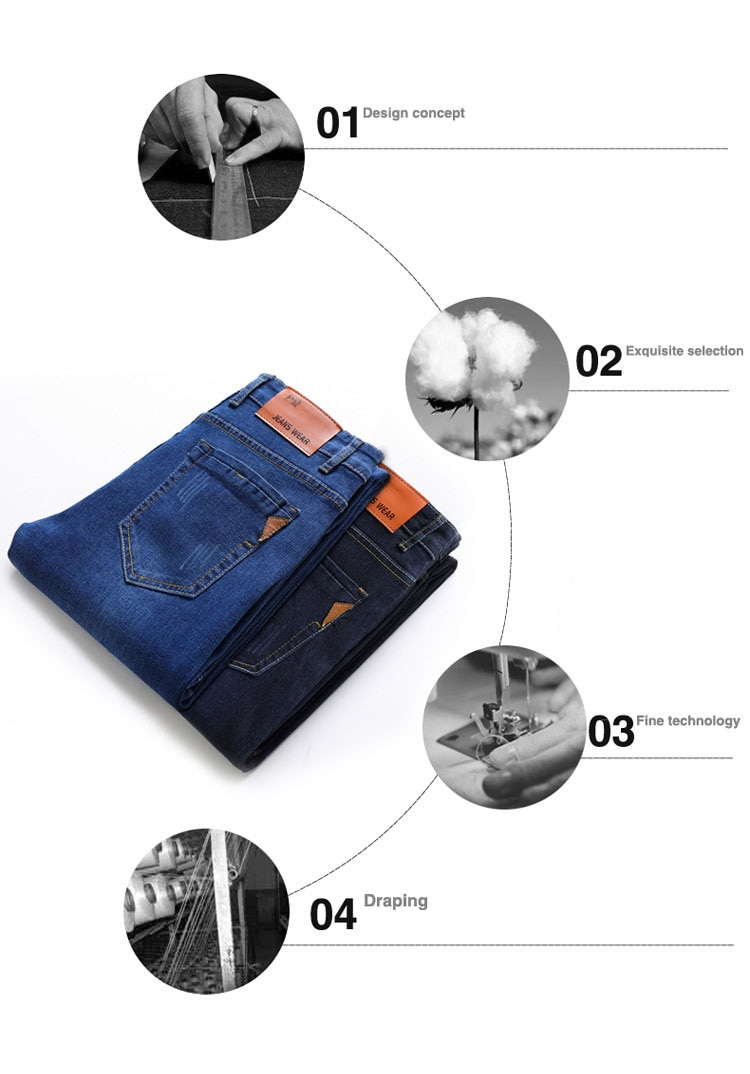 2020 new Brand Men's Slim Fit Jeans Fashion Business Classic Style Stretch Jeans Denim Pants Casual Trousers Male Black Blue