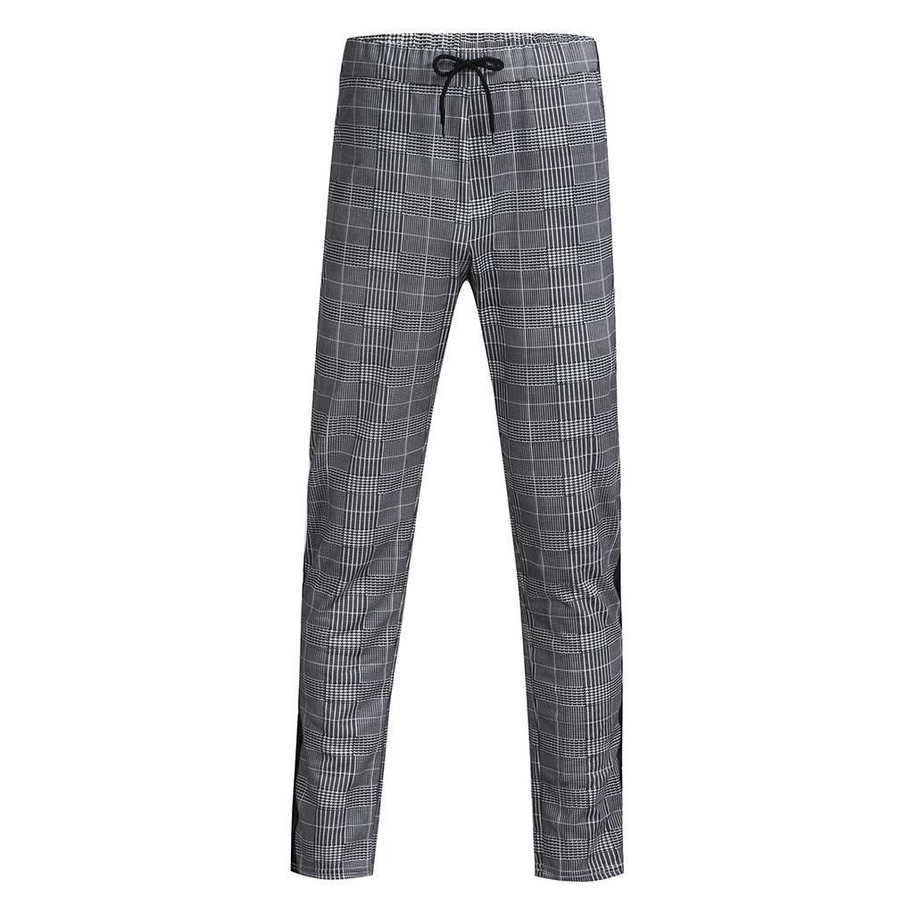 Men's Long Casual Sport Pants Slim Fit Plaid Trousers Running Joggers Sweatpants High Quality Dailywear  Pants