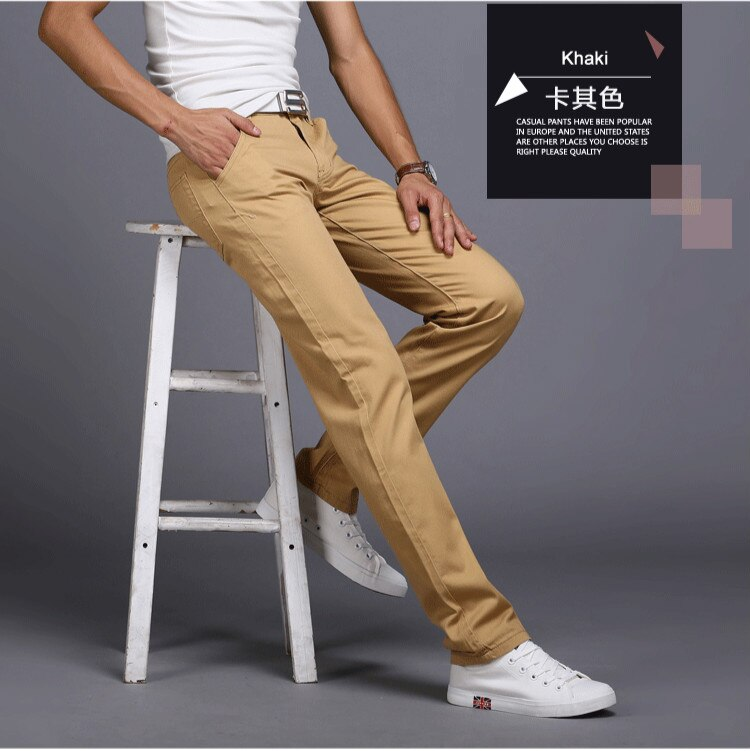 Men's Casual Pants Spring Autumn Cotton Slim Fit Chinos Fashion Trousers Male 2020 New Brand Clothing 8 Colors Plus Size 28-38