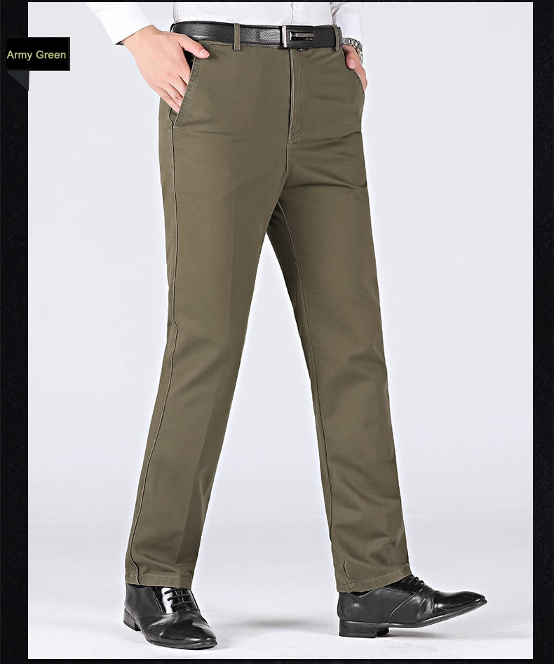 New Arrival Winter Autumn Men's Casual Pants Fashion Solid Gentle Thicken Trousers Brand Smart Suit Pant Black Green Gray Pants