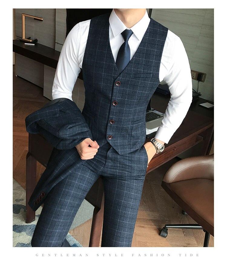 ( Vest + Pants ) 2piece Mens Fashion Plaid Formal Groom Wedding Dress Suit Vest and Pants / Men Plaid Business Suit Trousers