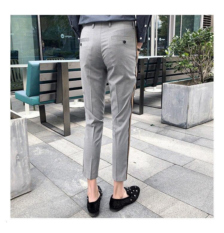 Ribbon Stripe Slim Dress Pants 2020 Summer Men's Business Casual Office Trousers Men's Ankle Length Slim Men's Social Pants