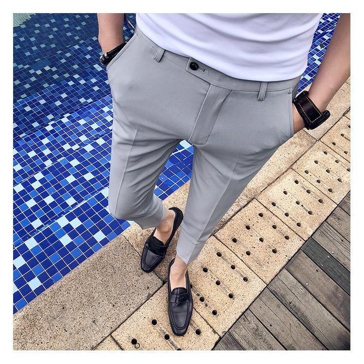 2020 Spring Summer New Men Suit Pants Fashion Boutique Solid Color Men's Social Trousers Pantalon Men's Slim Dress Trousers Mens