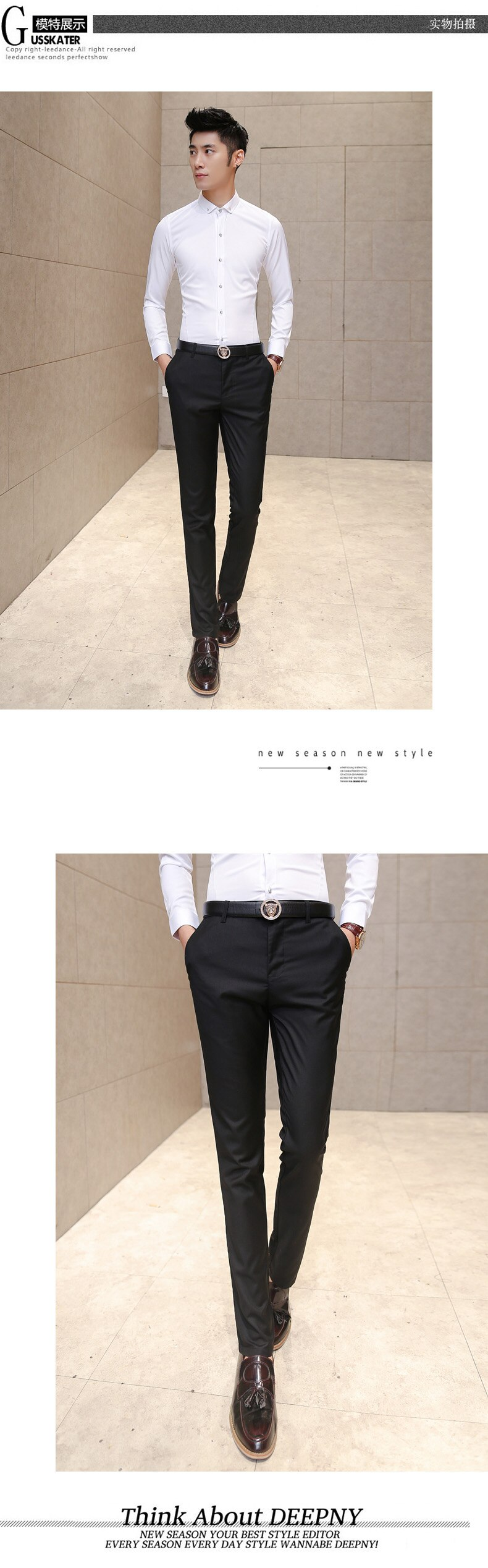 2019 Men's High-quality Business Casual Suit Pants / Men's Solid Color Slim High-end Casual Feet Pants Gentleman Style Trousers