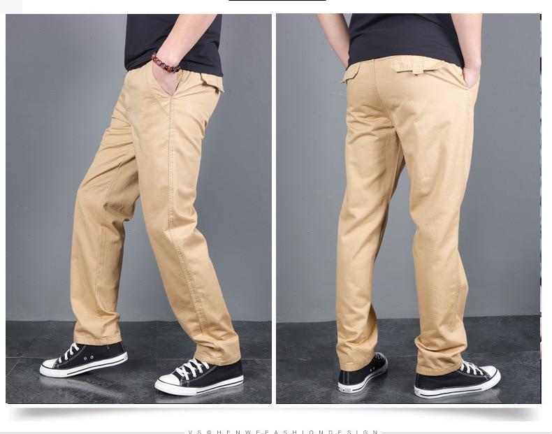 New Men's Spring Autumn Solid Casual Pants Cotton Slim Fit Chinos Fashion Long Trousers Male Pantalon Hombre Plus Size 3XL 4XL