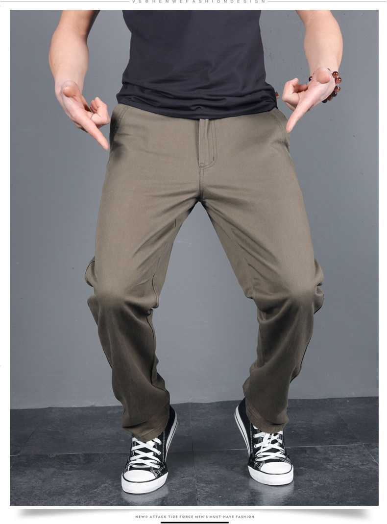 Men's Spring Button Casual Pants Solid Color Leisure Chinos Long Trousers Autumn Male Streetwear Casual Business Straight Pants