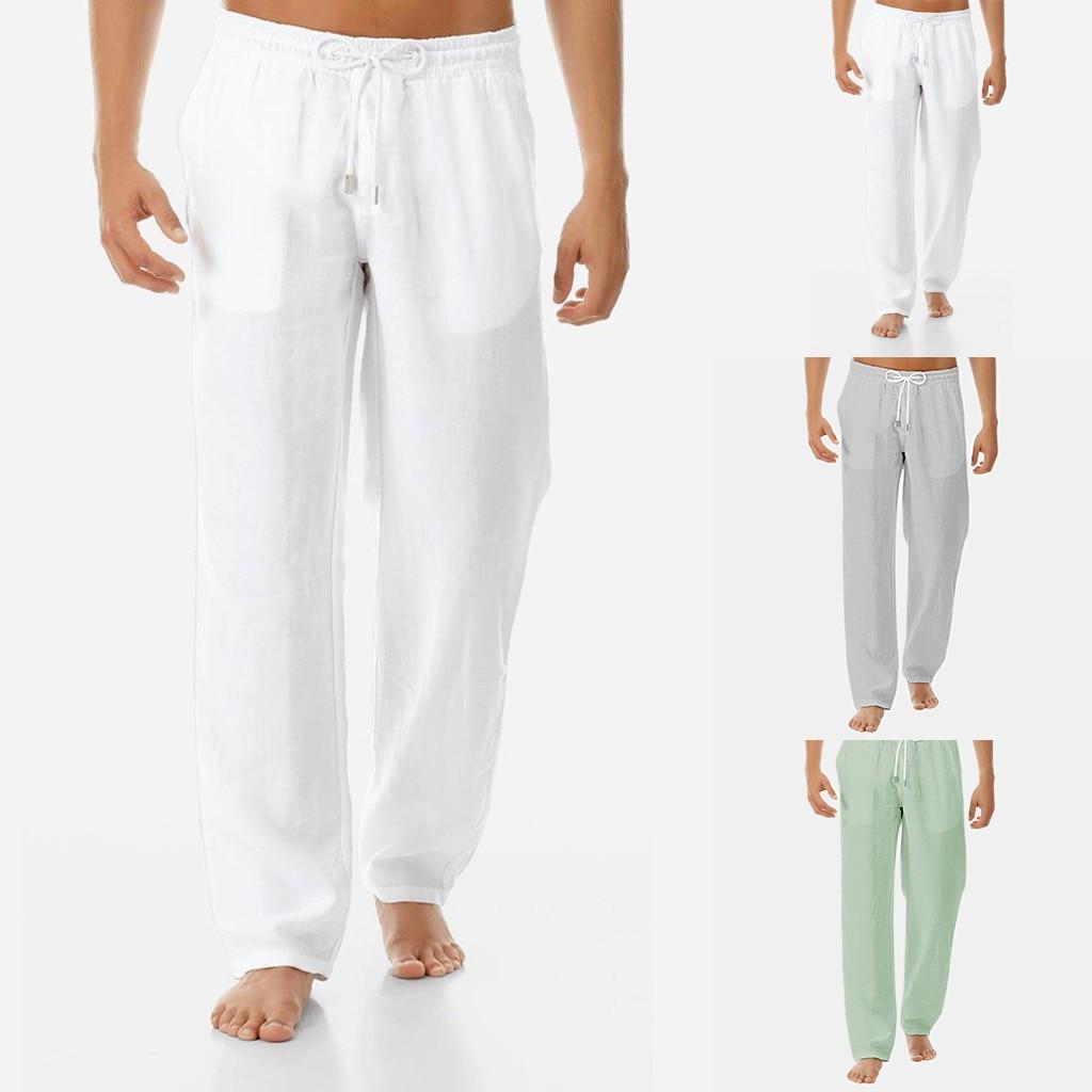 Casual Pants Men Summer Sport Pants Pure Pocket Streetwear Pants Cotton And Linen Trousers Men's Pants Pantalones Con Correas