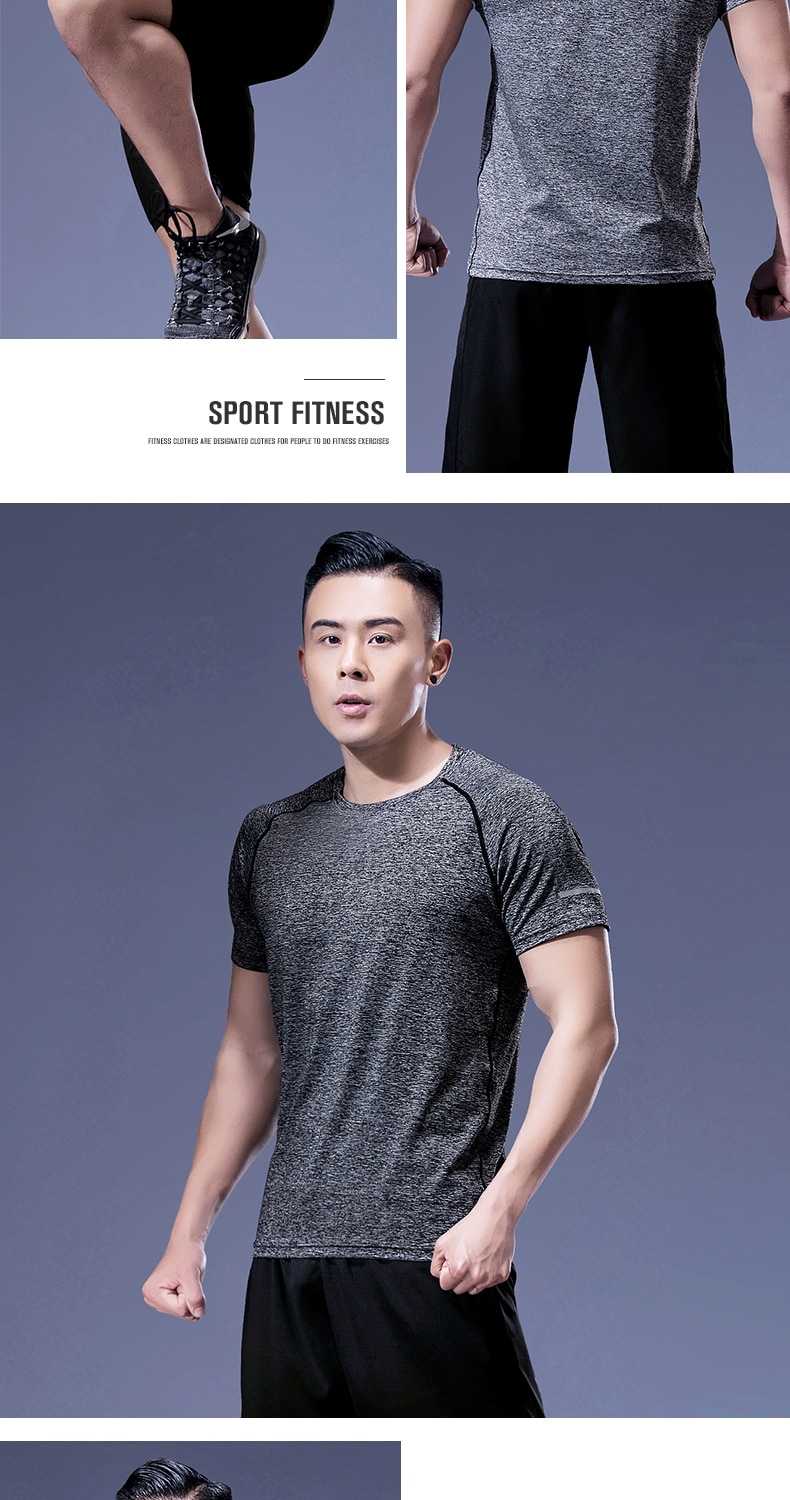Men's Running T-Shirts Quick Dry Breathable Sport T-Shirts Fitness Gym Running Shirts Reflective Shirts Men's Jersey Sportswear