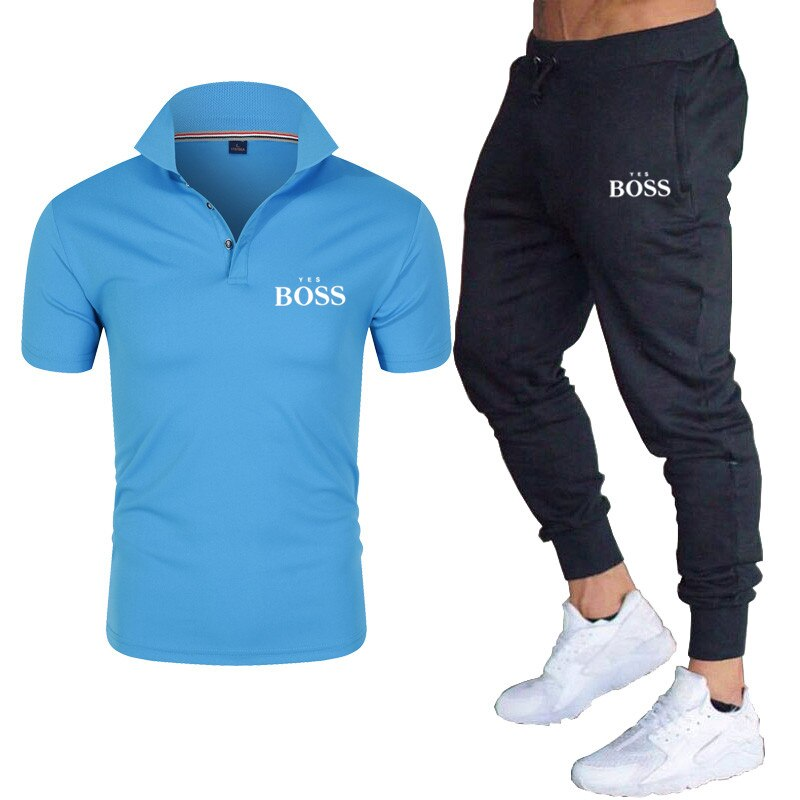 2021 new men's boss slim short-sleeved casual simple comfortable breathable shorts suit cotton lapel polo shirt