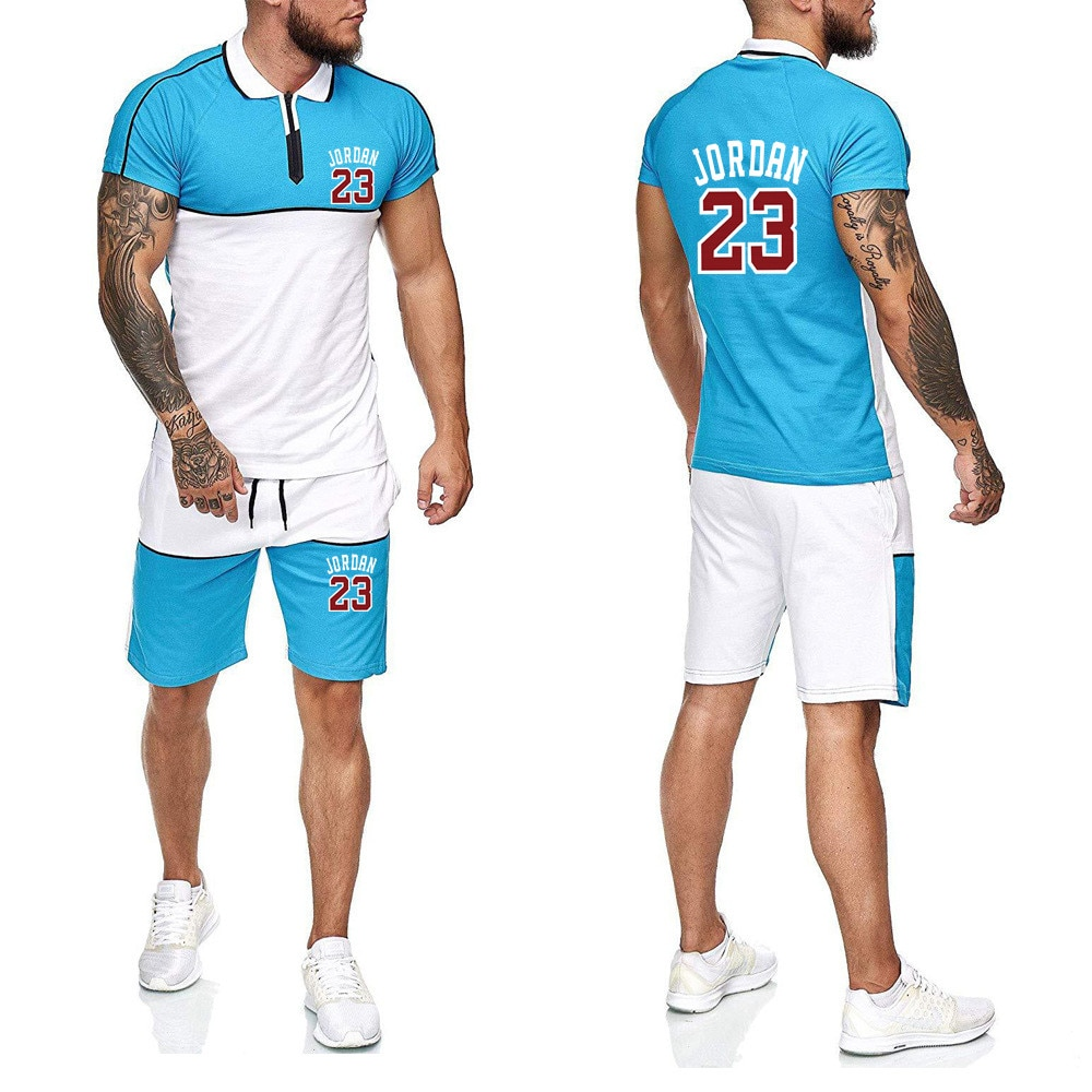 Summer Tracksuit for Men shorts set short sleeve Shirt and Shorts Casual Clothing Men Running wear gym clothes Men Sweat Suits