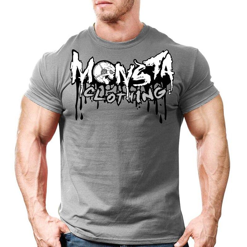Printed Running T Shirt Men Cotton Sport Gym Shirt Men Fitness Top Workout Clothing Sportswear Jogging Training Sports Tshirt