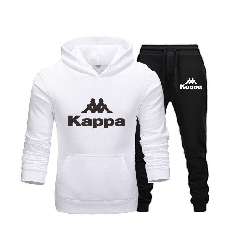 Fashion brand Kappa fleece hooded pants thick warm sportswear sportswear hooded track suits men's sweatshirts couple sportswear