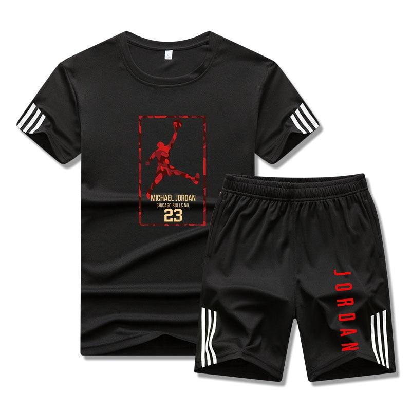 Brand Jordan Men's Sportswear Suit Short Sleeve Sports Shirt Men's Running Two-piece Football Fitness Suit Track and Field Sport