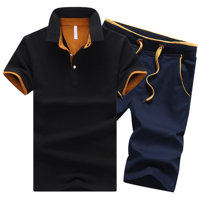 Track Suit Men Slim Polo T Shirt + Shorts Set Casual Solid Tracksuit Male Leisure Men's Top and Pant Suit  Sweat Suits Men