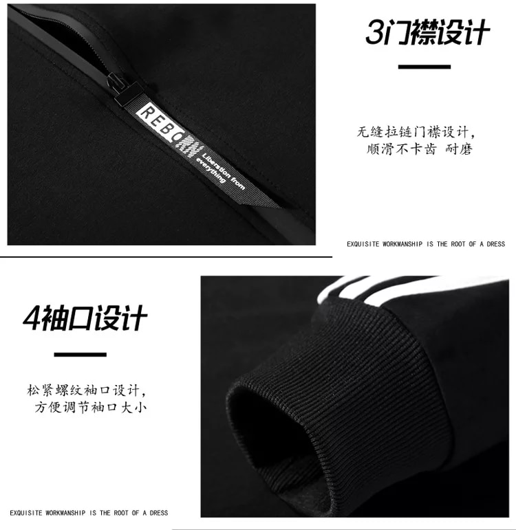 2021 New Men's Outdoor Camping Spring And Autumn Striped Stitching Zipper Jacket + Leisure Sports Striped Pants Suit M-3XL